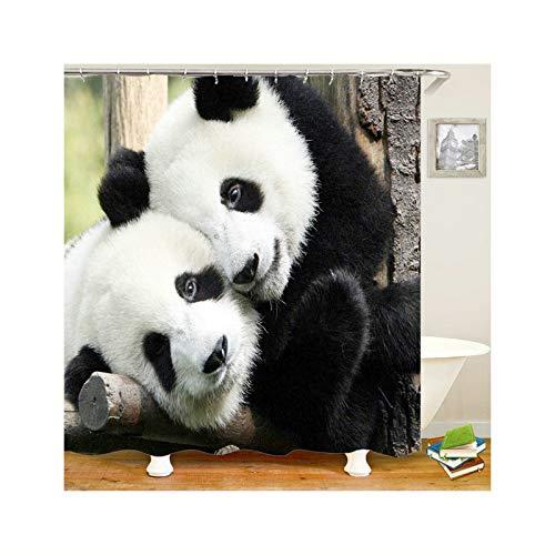 Ringe Kostüm Irland - DOLOVE Duschvorhang Polyester Waschbar 2 Panda 3D Lustiger Polyester Duschvorhang 150x180 cm