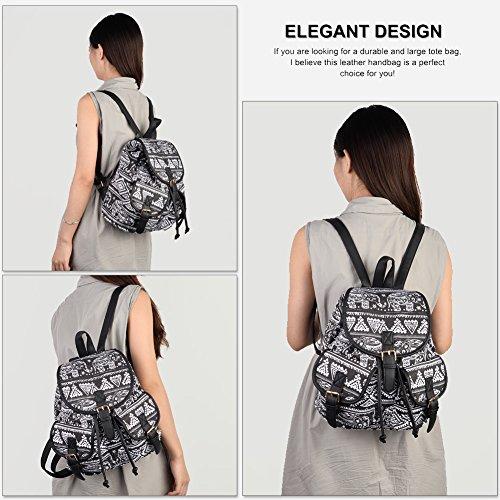 524188460a612 ... Vbiger Damen Rucksack Damen Daypack Backpack Canvas Rucksack Vintage  Rucksack Schulrucksack mit Großer Kapazität Schwarz Elefant+