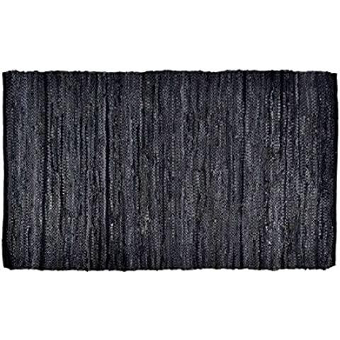 Homescapes - Leather Rug - Denver - Black - 120 x 180 cm - Recycled Eco Friendly 100% real leather rug by Homescapes - Duty Bed Mat