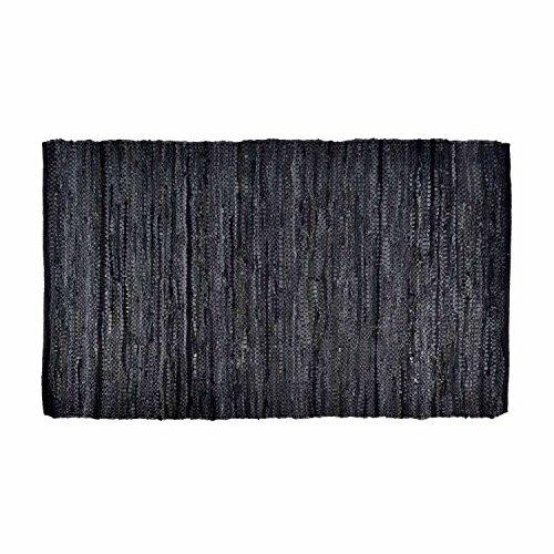 Homescapes Leder Teppich Läufer Denver schwarz 200 x 66 cm aus 100% recyceltem Leder -