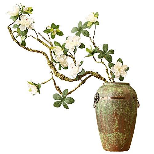 Künstliche Rhododendron künstliche Blumenaufblend-Bauf-Zweig Form Heimatdekoration Chinesische Zen-Keramik-Vase Display Floral
