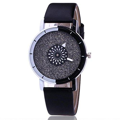 Damen Armbanduhren,Damen Casual Quarz Leder Uhrenarmbänder Armbanduhr Uhren Weihnachten Gift (One Size, Schwarz)