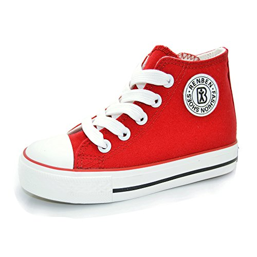 Sabe Kinder Turnschuhe Jungen Mädchen High mit Reißverschluss Sneaker Segeltuchschuhe für Unisex Kinder Laufenschuhe (Rot Mädchen Sneakers)