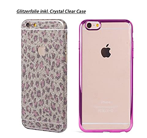 Apple iPhone 6s Plus, iPhone 6 Plus Glitter foil around Glitter Skin Glamour Sticker leopard pink + TPU Case Cases with stylish colored frame in pink by