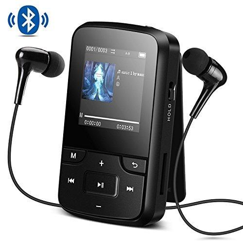 Agptek g6 portable lettore mp3 8gb bluetooth con radio fm e registratore vocale, mini sport mp3 con clip, auricolare, bracciale, custodia in silicone, nero