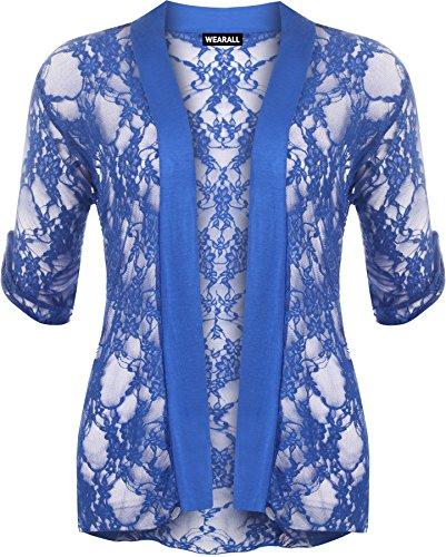 WearAll - Cardigan ouvert en dentelle à manches courtes - Cardigans - Femmes - Grandes tailles 40 à 54 Bleu électrique