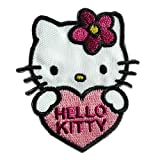 Aufnäher / Bügelbild - Hello Kitty mit Herz Comic Kinder - rosa - 6x5,4cm - Patch Aufbügler Applikationen zum aufbügeln Applikation Patches Flicken