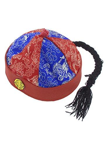 ch Landlord Orientalische Hut Kappe Party Kostüm Blau Rot mit Pferdeschwanz - Schwarz,Blau,Rot, Damen, Einheitsgröße ()
