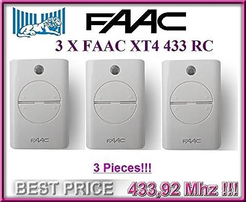 3 X FAAC XT4 433 RC 4-canaux Télécommandes BLANC (Model: 787452). 433,92Mhz rolling code pour Porte de Garage!!! 3 FAAC Emetteurs de haute qualité pour LE MEILLEUR PRIX!