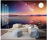 Apoart 3D Papier Peint Paysage D'Encre Style Chinois Shanyin Galaxy Tv Canapé Peinture Murale450X300Cm(177.16By118.11In)