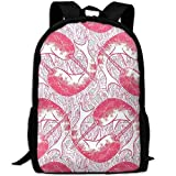 best& Pink Narwhal Circles School Backpack Bookbag for College Travel Hiking Fit Laptop Water Resistant
