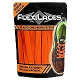 FLEXILACES - Flache elastische Schnürsenkel | Spannung einstellbar | viele Farben | nie Wieder Schuhbänder binden | passend für alle Schuhe - Neon-Orange