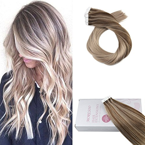 Moresoo 14 Pouces Extensions Cheveux Bandes Adhesives Marron Chocolat Highlights with Ash Blonde Balayage Tape in Cheveux Extension Naturel 50g/20pcs