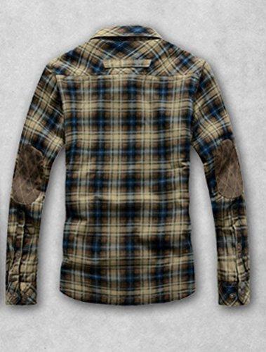 MatchLife Nouvelle Chemise En Flanelle Imprime A Carreaux Col Classique Manche Longue Bouton Casual Homme Avec Poche Design JEEP Rich Style Cow Boy Western Top Shirt S-XL Style5-Bleu