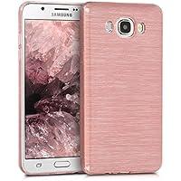 kwmobile Funda para Samsung Galaxy J7 (2016) - Carcasa de [TPU] para móvil y diseño de Aluminio Cepillado en [Oro Rosa/Transparente]
