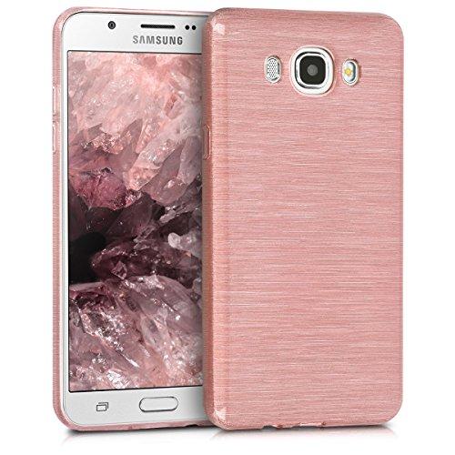 kwmobile Samsung Galaxy J7 (2016) Cover - Custodia in Silicone TPU per Samsung Galaxy J7 (2016) - Back Case Protezione Posteriore Cellulare Oro Rosa/Trasparente