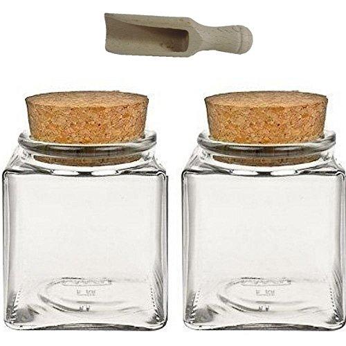 Viva Haushaltswaren - 2 x Gewürzglas eckig 200 ml, Glasdose mit Korkverschluss als Gewürzdose & Vorratsdose für Gewürze, Salz etc. verwendbar (inkl. kleiner Holzschaufel 7,5 cm)