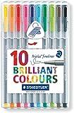 Staedtler Triplus Fineliner 334 SB10 Tips Desktop Box - Assorted Colours (Pack of 10)