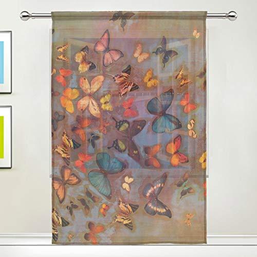 Isoa - tenda velata in tulle, con farfalle colorate, per finestre, decorazione per cucina, soggiorno, camera da letto, pannello singolo, 132 x 198 cm, poliestere, multicolore, 55x78x1(in)