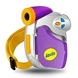 Caméra enfants, AMKOV Mini 1,5 pouces écran 1080 P HD caméra vidéo numérique pour les enfants avec carte SD et piles, caméscope numérique de poche (violet)