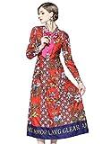 LAI&MENG Damen 3/4-Arm/Lange Ärmel Hemdkleider mit Blumenmuster Knopfleiste Vorne Casual A-Linie Kleid