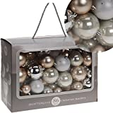 86 Weihnachtsbaumkugeln Silber/Beige glänzend glitzernd matt bis 7cm Christbaumkugeln Dekokugeln
