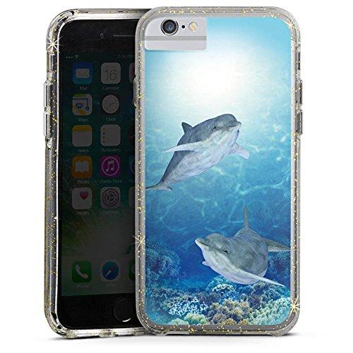 Apple iPhone 7 Bumper Hülle Bumper Case Glitzer Hülle Happy Dolphins Delfin Ocean Bumper Case Glitzer gold