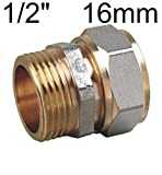 EXCOLO Verschraubung Verbinder Fitting für Verbundrohr PEX-AL-PEX Rohr Muffe Verbindung (16mm x 1/2' Außen)