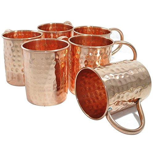 Zap Impex® Hammered Copper Moscow Mule largo tamaño Taza, Juego de 6tazas