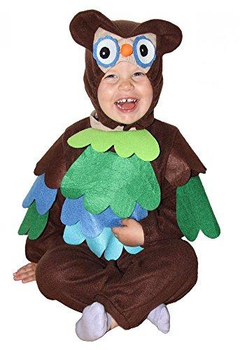 Foxxeo süßes Eulen Kostüm für Kinder Baby Eule bunt braun blau grün türkis Fasching Karneval Größe 86-92