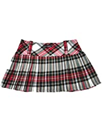 Tartan Mini Skirt 12in length (30.5cm) by Crazy Chick (8, WHITE RED DARK GREEN)