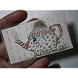 Kunst für unterwegs Elefant als Teekanne ich halt dich warm handgemalt Original Miniatur Bild laminiert Gute Besserung Lesezeichen als Geschenk, Geburtstagsgeschenk, Weihnachtsgeschenk
