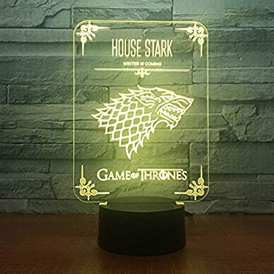 3D Night Light Home Decor Game of Thrones House Stark Wolf Dragon Acrylic 3D Night Lamp Led Light with 7 Colors Change