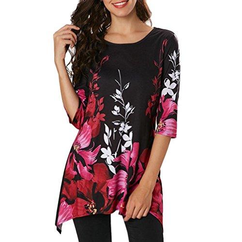 Damen Bluse Xiantime Mode Frauen Casual Floral Gedruckt Dreiviertel Ärmel Tops Bluse T-Shirt S-XXL