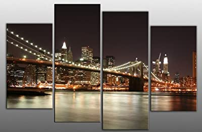 "Extra Large New York at Night Canvas artwork 4 pieces multi panel split canvas completely ready to hang, hanging template included - 5 feet wide, wall space 63"" width 44"" height (160 x 112 cm)"