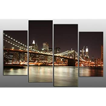 X LARGE NEW YORK BRIDGE SKY LINE CANVAS WALL ART SPLIT MULTI 4 PANEL 5 FEET