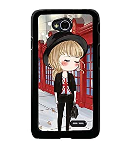 Fuson Premium 2D Back Case Cover Cute office Girl With Black Background Degined For LG L70
