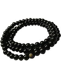 e7a9a2b4e3e8e Leana Collection Unisexe Bracelet 108 Perles Bouddhistes Collier Bois Mala  Tibétain Bouddha Chinois Cordon Élastique 6mm
