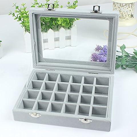 Schmucksache-Kasten, hölzernes Schlag-Oberseite, Ohrring, Ring-Kasten, Aufbewahrungsbehälter, transparente Schmucksache-Anzeigen-Kasten, 20 ×
