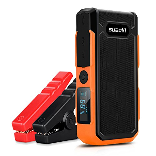 SUAOKI U10 Avviatore Auto 800A Avviatore Emergenza 20,000mAh Jump Starter Pinza Intelligente, Torcia Incorporata con 4 modalità di Luce, Come Caricabatteria per Cellulare, Arancione