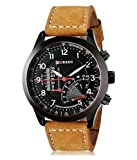 capturfashion ™ 2018 New Collection Curren Festive Season Special Black Round Shapped Dial Brown Leather Strap Party Wedding | Casual Watch | Formal Watch | Sport Watch | Fashion Wrist Watch For Boys and Men | Curren M-8152