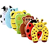 SYGA 5 Pcs Children Safety No Finger Pinch Foam Door Stopper. Colorful Cartoon Animal Cushion - Ramdom Bundled Baby Child Kid Cushiony Finger Hand Safety, Curve Shaped Door Stop Guard