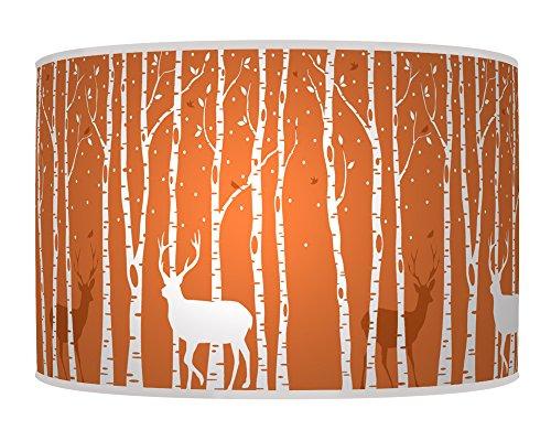 stag-deer-trees-handmade-lampshade-printed-fabric-pendant-light-brunt-oragne-colour-682