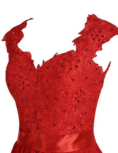 Dresstells Robe de soirée Robe de cérémonie en mousseline dentelle forme empire longueur ras du sol Blush