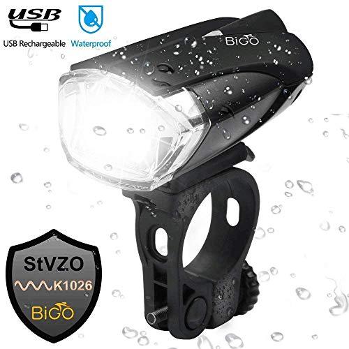BIGO LED Fahrradbeleuchtung, StVZO Zugelassen Fahrradlicht USB Wiederaufladbere Wasserdicht Fahrradlichter Fahrradlampen Frontlicht, 1200mAH, Starkes/Schwaches Licht Fahrradleuchte -