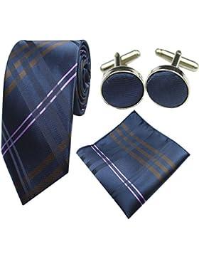 Oliked Classic Hombres corbata incluye pañuelo Gemelos