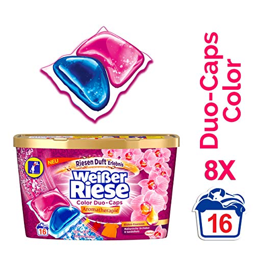 Weißer Riese Color Duo-Caps Aromatherapie Malaysia Colorwaschmittel, 8er Pack (8 x 16 Waschladungen)