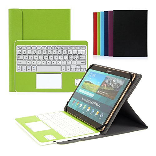 tastiera per tablet 10 pollici Cassa con Tastiera Smontabile Bluetooth 3.0 Italiano e touchpad - Compatibile con 9.0-10.6 Pollici Qualsiasi Windows/Android OS (Verde)
