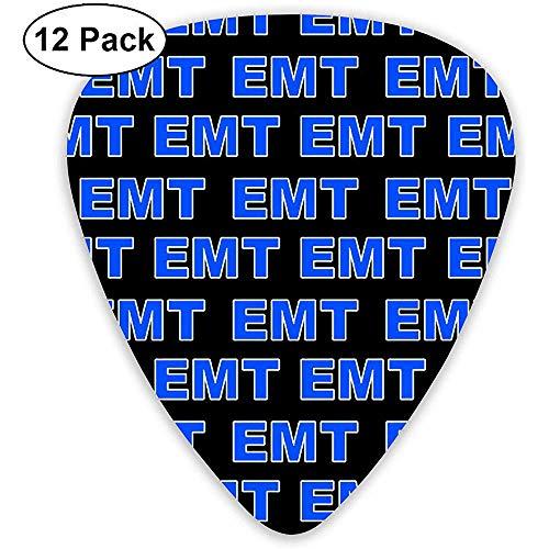 EMT Emergency Medical Technician Classic Celluloid Guitar Pick per basso elettrico di mandolino acustico (12 conteggi)