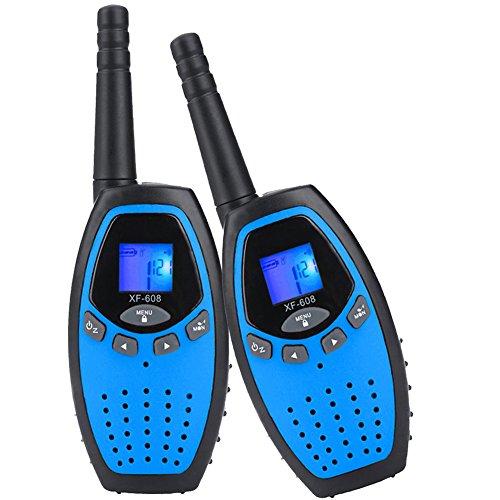 Walkie Talkies Niños, Mksutary PMR 446 MHz 0.5W 8 Canales, LCD Pantalla Función VOX, Larga Distancia Range de hasta 3KM, Regalos de Cumpleaños Juguetes de Niños Radio,Azul